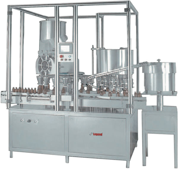 Automatic high speed 16 head rotary powder filling machine with 8 head ROPP cap sealing machine